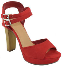 Delicious Women Ankle Buckled Heels Open Toe Dress Sandals Platform Red LEARN-H