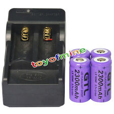 4pcs CR123A 3.7V 2300mAh 16340 123A GTL Rechargeable Battery Cell + Charger