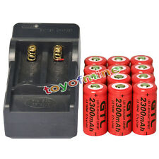 12 CR123A 3.7V 2300mAh 16340 123A Rechargeable Battery Cell Red + Smart Charger