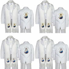 6pc Christening Baptism White Paisley Tuxedo Suit Color Virgin Mary Pope Stole