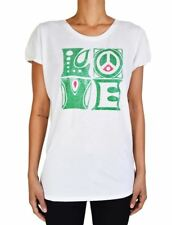 NEW LUCKY BRAND JEANS JUNIORS 'LOVE' PRINTED COTTON T-SHIRT SOLID IN WHITE