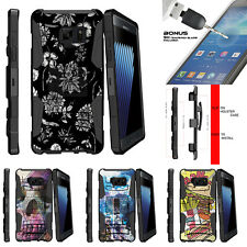 For Samsung Galaxy Note 7 N930 Holster Clip Stand Case Black White Flowers