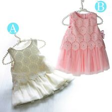 New Baby Girls Lace Chiffon Floral Dress Sleeveless Pageant Party Princess Dress
