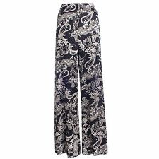 New Ladies Paisley Print Trouser Wide Leg Flared Parallel Pant Palazzo 12-22