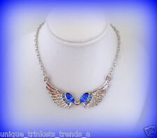 LIGHT & DARK BLUE CRYSTAL ANGEL WINGS AWARENESS RIBBON SILVER CHARM NECKLACE