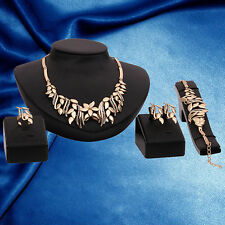 Luxury Women's Rhinestone Bracelet Earrings Ring Necklace Jewelry Set Delightful