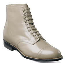 Madison Stacy Adams Ankle Boot Biscuit Cap Toe Lace Up Taupe Leather 00015-260