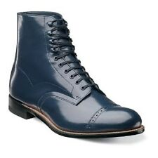 New Stacy Adams Mens Madison Ankle Boot Biscuit Cap Toe Lace Navy Blue 00015-410