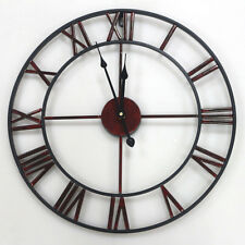 47cm Large Wall Clock Metal Industrial Iron Vintage French Provincial Antique AU