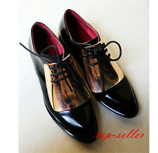 Womens Lady Lace Up Formal Dress Pointed Toe Low Heels Court Oxfords Shoes Size