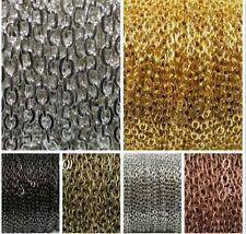5m/100m Silver Golden Plated Cable Open Link Iron Metal Chain Findings 4Colors
