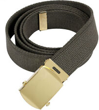 Olive Drab Military Cotton Web Belt with Gold Buckle