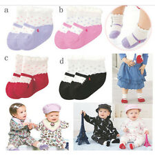 Hot Infants Baby Girls Antislip Mary Jane Dots Print Slipper Socks 0-12 Months