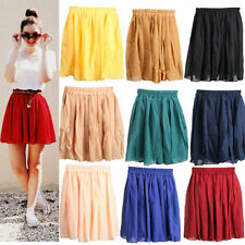 Colorful Elastic High Waist Pleated Double Layer Chiffon Short Mini Skirt Dress