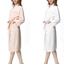 Lady Cotton Waffle Kimono Bathrobe Belted Spa Robe Knee-length Sleepwear