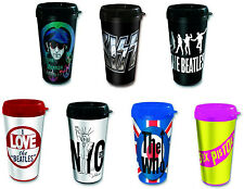 Vacuum Sealed Insulated Plastic Travel Mug Sex Pistols KISS Beatles John Lennon