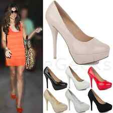 WOMENS LADIES MID HIGH STILETTO HEELS PLATFORM PARTY PUMPS COURT SHOES SIZE