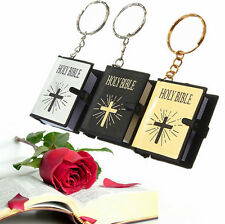 HOLY BIBLE English Religious Cross Keyrings Bible Mini Christian Jesus Keychains
