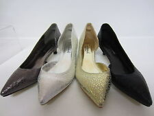 Anne Michelle F9784 Black, Silver, Pewter or Gold Ladies Court Shoe UK3X8 (R7B)