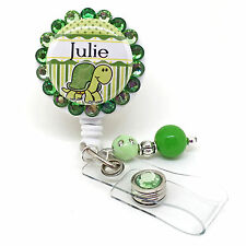 PERSONALIZED TURTLE BLING RETRACTABLE ID BADGE HOLDER LANYARD