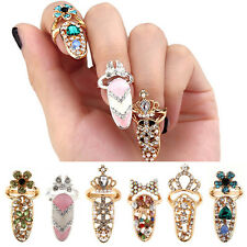 Women Pretty Bowknot Nails Rings Charm Crown Flower Crystal Fingers Nails Rings