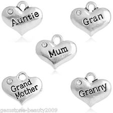 Wholesale HOT Metal Charm Pendants Rhinestone Letters Carved Heart Silver Tone