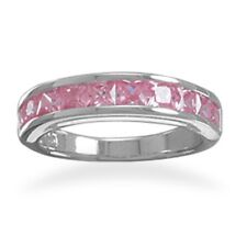 Pink Band Ring Cubic Zirconia Rhodium Plated Sterling Silver