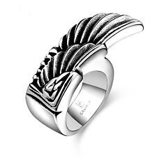 Stainless Steel Ring 316L polished Biker Angel Wing MC Harley Chopper (RE17)