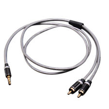 3.5mm Jack Plug to 2 RCA Stereo Jack Headphone Extension Cable Aux Audio Lead EF