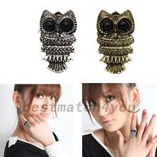 Durable Adjustable Owl Antique Sharp Eyes Metal Finger Ring Jewelry Accessories