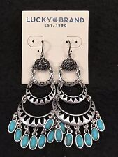 LUCKY BRAND Silver-Tone Pavé and Stone Multi-Layer Chandelier Earrings NWT L@@K