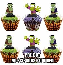 Cartoon Frankensteins Fully Edible Cup Cake Toppers Halloween Party Decorations