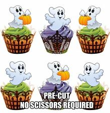 PRE-CUT Ghosts - Edible Cupcake Toppers Decorations Halloween Birthday Party