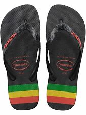 Havaianas Black-Ruby Red Top Stripes Logo Flip Flop