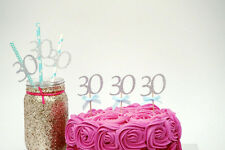 30th Birthday Party Accessories - Thirty Party Cake Topper and Paper Straws