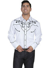 Men's New Scully Embroidered Scull Roses Western Cowboy Rodeo Shirt White
