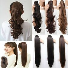 US Clip on Claw Ponytail Clip in 100% Real Hair Extensions Natural As Human cy5