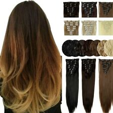 100% Thick Clip In Hair Extensions Long Straight Full Head Hair Extentions H714