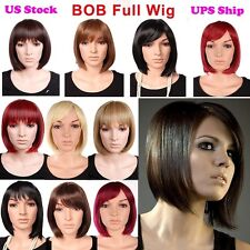 Real Sexy BOB Full Wigs Women Fashion Short Straight Wig Top Kanekalon Hairpiece