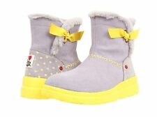 NIB I HEART UGG KNOTTY MOONSTONE HEARTS SUEDE GREY GRAY YELLOW BOW WINTER BOOTS