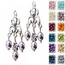 Earrings silver lace chandelier and pearl, choose color and clip on or pierced