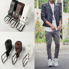 Casual New Men's Solid Color Leather Belt Pin Belts Waistband Buckle Waist Strap