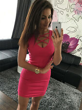 Womens Sexy Bodycon Bandage Sleeveless Cocktail Evening Club Party Mini Dress