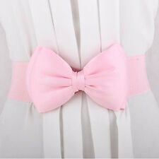 Beauty Lady Girls Elastic Wide Stretch Buckle Bowknot Bow Waistband Waist Belt