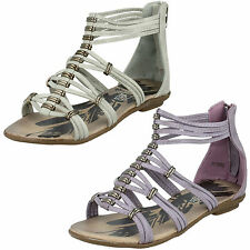 GIRLS CHILDRENS SPOT ON CASUAL ZIP UP GLADIATOR STYLE SUMMER SANDAL H0098