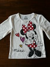 New Disney Minnie Mouse Cream Girls Long Sleeved Top Ages 1-6 Years Old