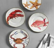 POTTERY BARN SEA CRITTER MELAMINE SALAD PLATES crab, fish, lobster, sea star NWT