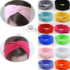 Cotton Baby Toddler Kids Girls Twist Knot Wide Hairband Headband Cross Head Wrap