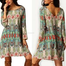 Summer Women Long Sleee Short Dress Boho Loose Casual Party Mini Sundress Retro