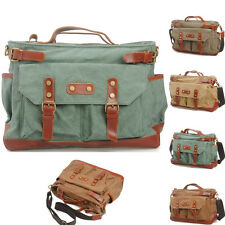 Mens Vintage Canvas Real Leather Satchel School Military Shoulder Messenger Bag